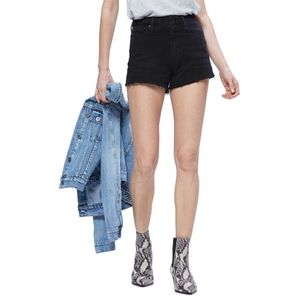 Paige Margot High Rise Cutoff Denim Shorts Black